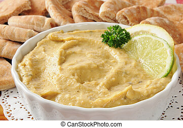 Hummus with pita wedges - a bowl of hummus with pita bread...