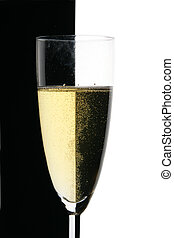 Glass of champagne close-up - Single glass of champagne...
