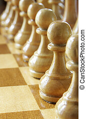Chess - Pawn in a row close up