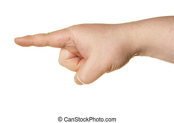 Pointing hand - Pointing human hand isolated over white...