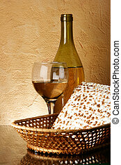 Still-life with wine and matzoh (jewish passover bread)