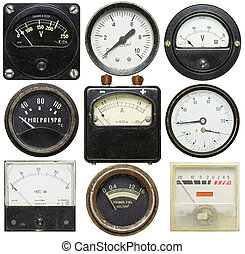 Old gauges isolated on white background