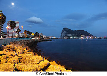 Promenade of La Linea and Gibraltar at dusk. Southern...