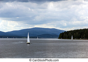 Lipno lake, Czech Republic - Sailing yachts on Lipno lake,...