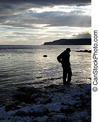Water at his feet - Early evening on Rathlin Island, just of...