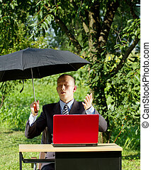 Businessman Working Outdoors - Freelance concept....
