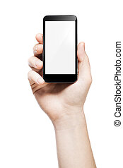 hand holding a smart phone with blank screen, on white background