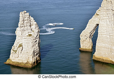 Famous cliffs of Etretat in France - Famous cliffs with the...