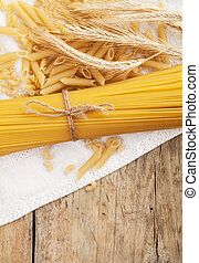 pasta - close up on assortment of uncooked pasta