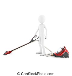 3d man with vacuum cleaner