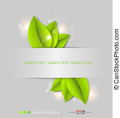 Design of a fresh leaves vector background template for text...