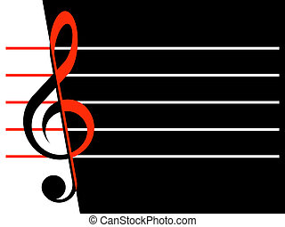 Treble clefs and lines on a white and black background