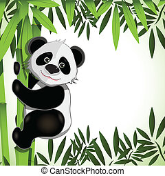 cheerful panda on bamboo - illustration cheerful big panda...