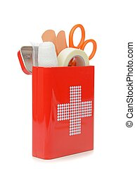 A Travel First Aid Kit - An open travel first aid kit...
