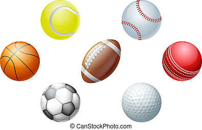 Sports balls - Illustrations of sports ball icons, including...