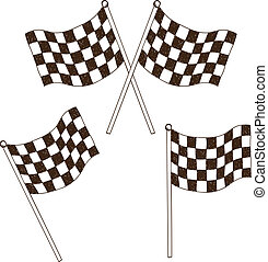 Checkered flag drawing - Illustration of checkered flag,...
