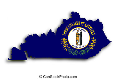 Map of Kentucky filled with the state flag