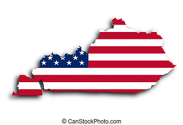Map of Kentucky  filled with the national flag