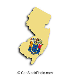Map of New Jersey filled with the state flag