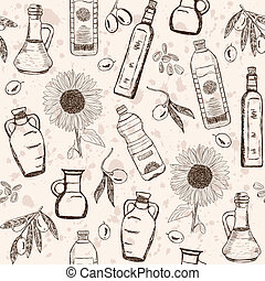 Oils seamless pattern - Olive and sunflower oils doodles on...