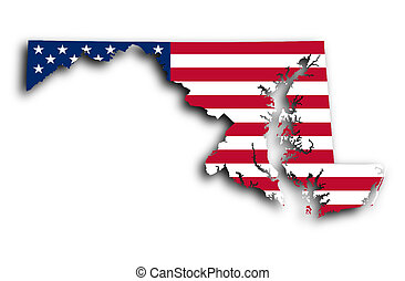 Map of Maryland filled with the national flag