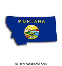 Map of Montana filled with the state flag