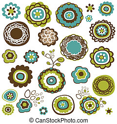 doodle flowers set, vector illustration