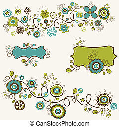 doodle flowers design, vector illustration