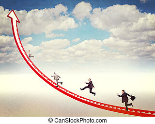 business challenge - business people run on 3d arrow stair
