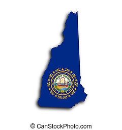 Map of New Hampshire filled with the state flag
