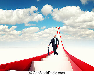 growing business - man on 3d stair and blue sky background