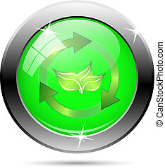 Recycle icon - green and gold arrows on green background