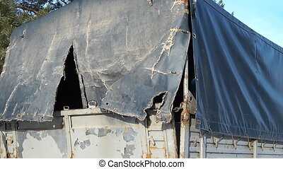 awning - old torn awning