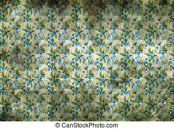 Vintage wallpaper with little blue flowers - Background...