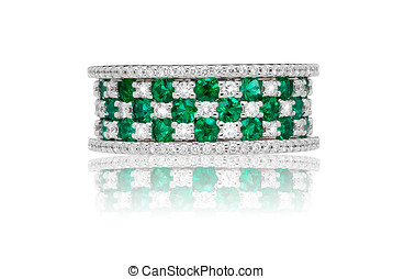Emerald and diamond ring with a broad band set with...