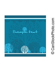 Stylized trees - Abstract blue background with stylized...