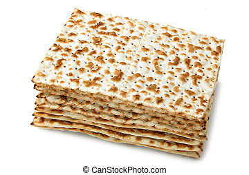 Matzos - jewish passover bread isolated over white...