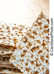 Matzos close up - Matzos - jewish passover bread close up