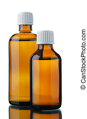 Bottles with solution - Two small bottles with medicinal...