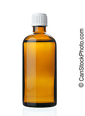 Small bottle with drug isolated over white background