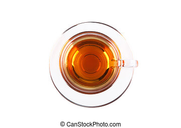 View from above on glass cup of tea isolated on white...