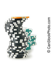 Stacks of casino chips isolated over a white background.