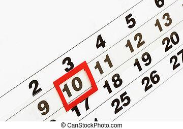 Working days (Sheet of wall calendar close-up)