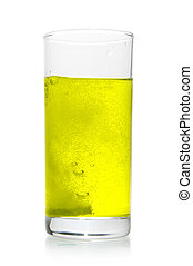 Vitamin pill dissolve in glass of water isolated over white...