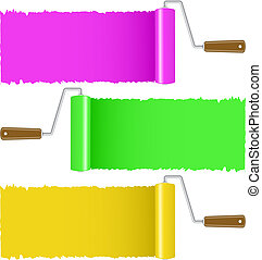 Set of colorful paint roller brush , vector illustration
