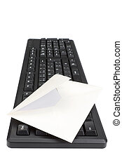 Computer keyboard and envelope for mail. On a white background.