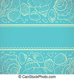 Sea background - Sea card with drawing seashells on bllue...