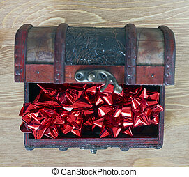 Red bows in jewellery box