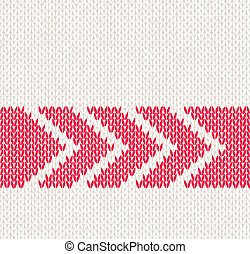 Seamless Knitted Pattern - Style Seamless White with Red...