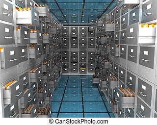 data archive room - abstract 3d illustration of archiver...